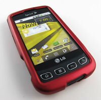 PINK RUBBERIZED HARD SHELL CASE PHONE COVER FOR LG OPTIMUS S U V PHONE ACCESSORY