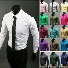 Jeansian Mens Style Casual Dress Slim Shirt Casual 17 Color US XS S M L XL 8504