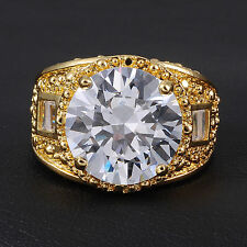 Size 9-13 Valuable Mens 15ct Huge White Sapphire 18K Yellow Gold Filled Ring