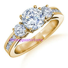 Jewelry White Sapphire Ring Size 6/7/8/9/10 Womens Yellow Gold Filled Engagement