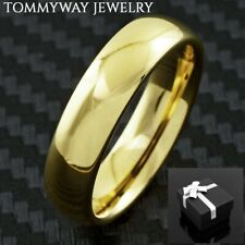Tungsten Men's 14K Gold Plated Band Ring 6mm Size 8-14