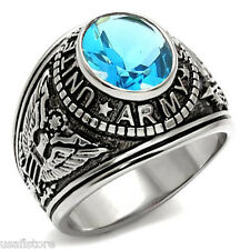 Light Sapphire Blue Stone US Army Military Silver Stainless Steel Mens Ring