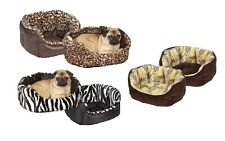 Wild Plush Nesting Beds for Dogs - Warm Cozy Dog Bed with Animal Print