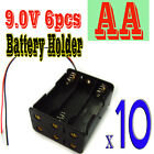 """10 x Battery Holder Case 6x AA 9.0V with 6"""" Leads Box"""