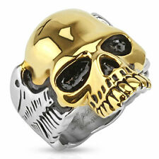 316L Stainless Steel 2-Tone Skull w/ Wings Men's Biker Ring Size 9-15