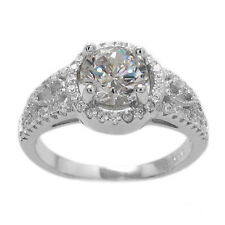 925 Sterling Silver 1.5 Carat CZ Round Halo Design Engagement Ring Size 5-9