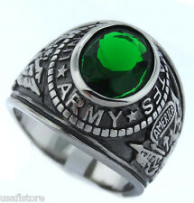 Emerald Green Stone US Army Military Silver Stainless Steel Mens Ring