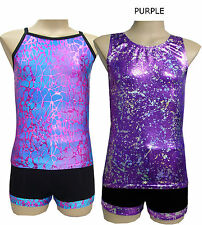 Leotard Gymnastic Dance  Singlet Top/Shorts Set - Size 5,6,8,10,12