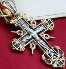 RUSSIAN GREEK ORTHODOX ICON CROSS,SILVER 925+.999 GOLD. PRECIOUS CROSS PRAYER