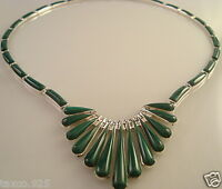 TAXCO MEXICAN 950 SILVER MALACHITE NECKLACE MEXICO