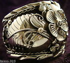 TAXCO MEXICAN 950 SILVER FLORAL FLOWER LEAF CUFF BRACELET MEXICO