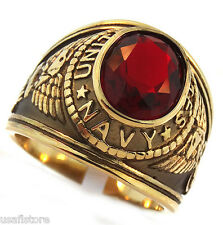 US Navy Red Stone Military 18kt Gold EP Stainless Steel Mens Ring