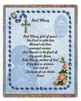RELIGIOUS CATHOLIC PRAYER THE HAIL MARY TAPESTRY THROW AFGHAN BLANKET 54x70