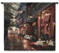 NEW ORLEANS STREET BALCONY VIEW CARMENLEGIO JAZZ ART TAPESTRY WALL HANGING 53x54