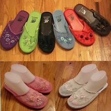 New Women's Chinese Mesh Floral Beaded Sequined Slippers Multi-color Size 6-11