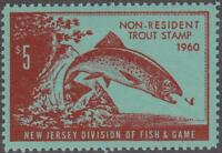 New Jersey State Revenue mint $5 Non-Resident Trout Stamp 1960