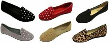 Womens Faux Suede Studded Loafer Smoking Ballet Flats Black,Nude,Red