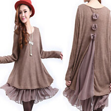 Women's Fashion Sweet Ruffle Top Bow Round Neck Long Tunic Loose Sweater Dress