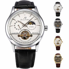 KS 24 Hours Display Small Second Hand Automatic Mechanical Leather Wrist Watch