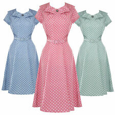 Hell Bunny Ingrid Pastel Polka Dot 1940s Wartime WW2 Summer Tea Party Dress