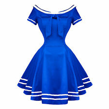 Hearts and Roses London Blue Rockabilly 50s Pinup Sailor Mini Dress
