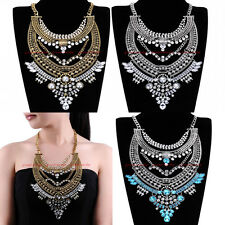 Hot Vintage Gold Silver Chain White Crystal Glass Statement Pendant Bib Necklace