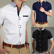 Mens Slim Fit Short Sleeve Casual Dress Shirt  Formal Business T-Shirts Tee Tops