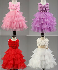 Kids Dress Coral Tiered Embossed Flower Girl Pageant Wedding Party Dress