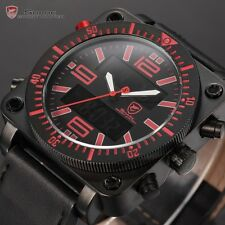 Lantern Shark Men Military LCD Display Date Stopwatch Leather Sport Quartz Watch