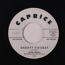 JANIE GRANT: Unhappy Birthday / I Wonder Who's Kissing You Now 45 (dj) Oldies