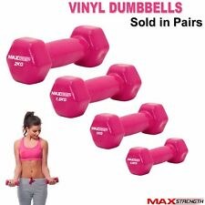 Ladies Pink Vinyl Dumbbells Womens Body Fitness Arm Weight Set Gym Workout Pair