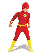 Child The Flash Muscle Chest Outfit Fancy Dress Costume Superheroes Kids Boys BN
