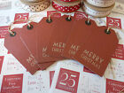 12 East Of India Merry Christmas Chic Gift Tags Luggage Label Vintage Style Red