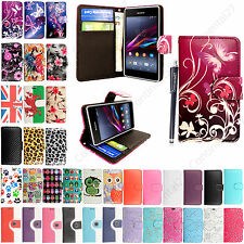 LEATHER WALLET BOOK FLIP SIDE OPENS CASE COVER FOR SONY XPERIA EXPERIA PHONES