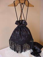 VICTORIAN STEAMPUNK TEA LADIES GOTHIC FRINGE BLACK SATIN LACE RETICULE SASS