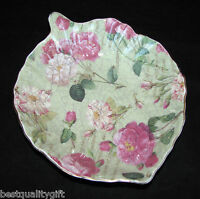 ROYAL DANUBE GREEN w PINK ROSES PORCELAIN LEAF SMALL SERVING BOWL,CANDY DISH-NEW
