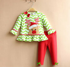 New Baby Girls Toddler Clothing Outfits Reindeer T-shirt+ Pants Christmas 1-3T