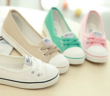 New Girl's Women's Canvas Low Heels Lace Up Sneakers Casual Athletics Flat Shoes