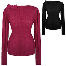 Womens New Ribbed Knitted Warm Retro WW2 1940s 1950s Vintage Jumper Top