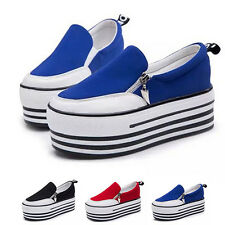 New Female Canvas High Platform Sneakers Shoes Casual  Low Top Loafers Trainers