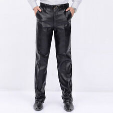 Men's PU Leather Long Pants Trousers Velvet Warm Motorcycle Straight Jeans New