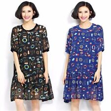 Wonmen Hot Plus Size Floral Casaul Loose Slim Beach Home Sexy Top T-Shirt Dress