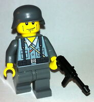 1 GERMAN Wehrmacht soldier WW2 & MP-40 -  lego custom figure dark grey soldier