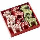 HEAVEN SENDS BOX OF 24 NORDIC FAIRISLE REINDEER CHRISTMAS TREE DECORATIONS GIFT