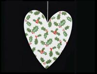 GISELA GRAHAM WHITE WOODEN GLITTER HOLLY LOVE HEART CHRISTMAS HOME DECORATION