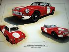 MG MGB WORKS COMPETITION LE MANS 1965 PADDY HOPKIRK HEDGES STUNNING RARE PRINT