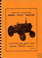 "Allis-Chalmers ""D-272"" Tractor Operating Instructions"