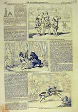 Old Orginal Print 1844 Harlequin Theatre Crotchet Quaver Scenes Astleys 778011