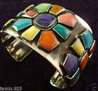 TAXCO MEXICAN STERLING 925 SILVER MULTI INLAY FLORAL FLOWER CUFF BRACELET MEXICO