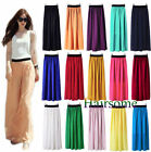 Women Double Layer Chiffon Pleated Retro Long Dress Maxi Elastic Waist Skirt